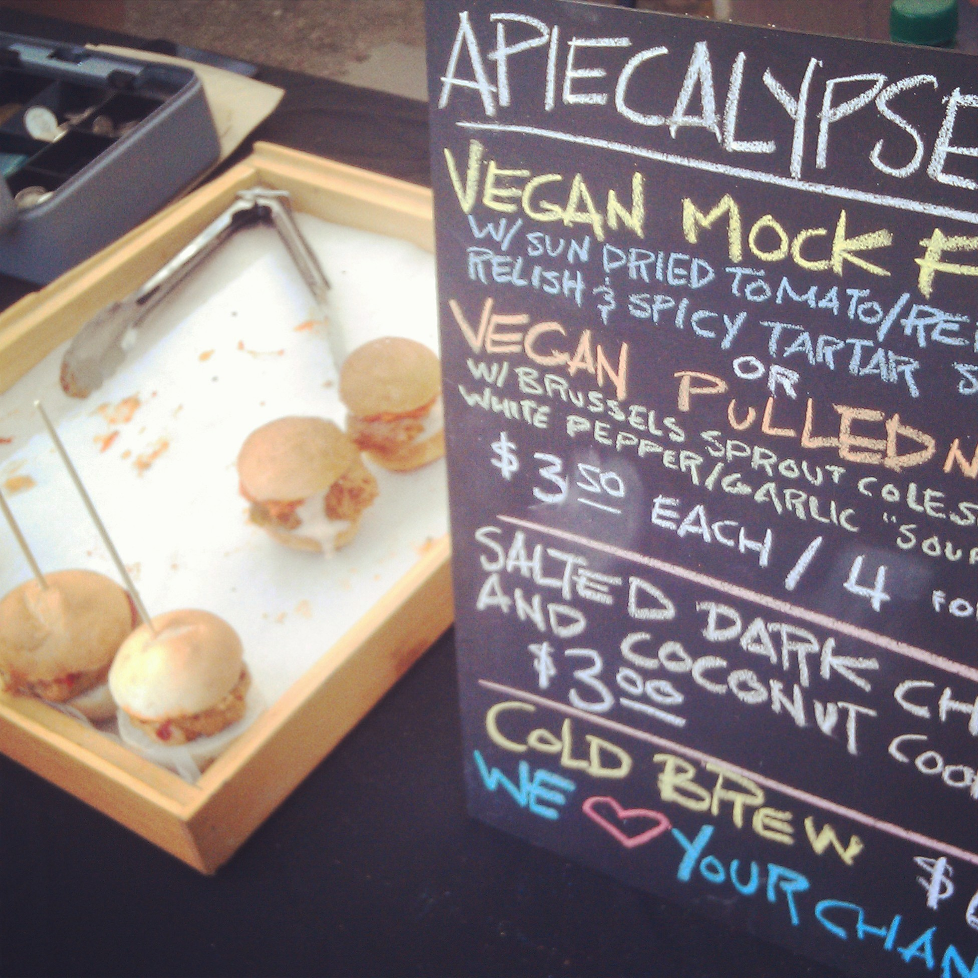 Not pulled pork vegan sliders from Apiecalypse Nowwere delicious